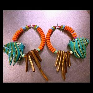 NWT Fish Hoop Earrings